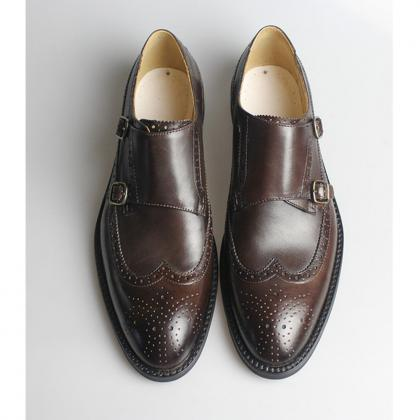 Handmade Men Leather Brogue Shoes C..