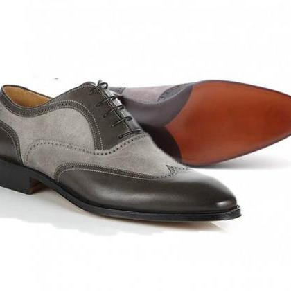 New Handmade Men Oxford Black and G..