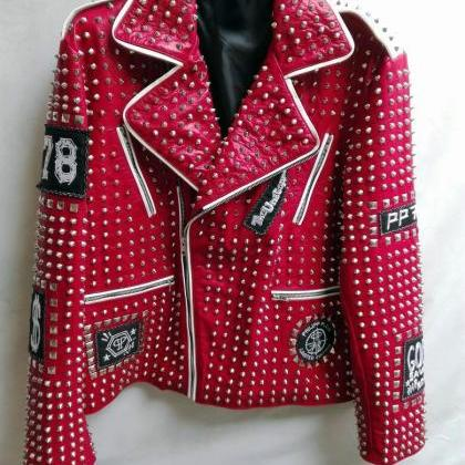 MEN'S RED STUDDED PUNK ROCK EMBROID..