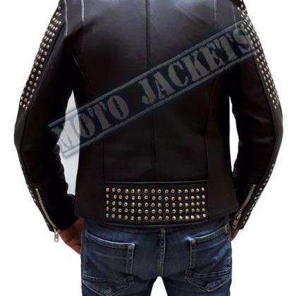 Black Studded Biker Leather jacket,..