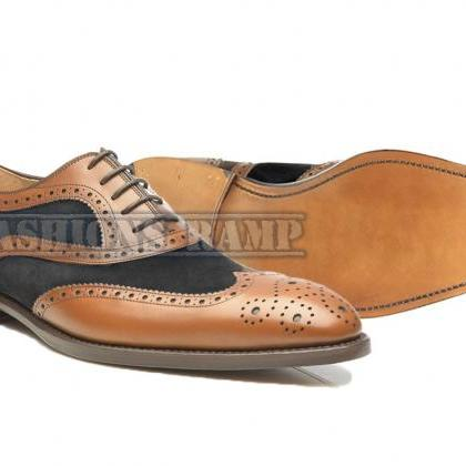 Handmade Oxford Wing Tip Brown Blac..
