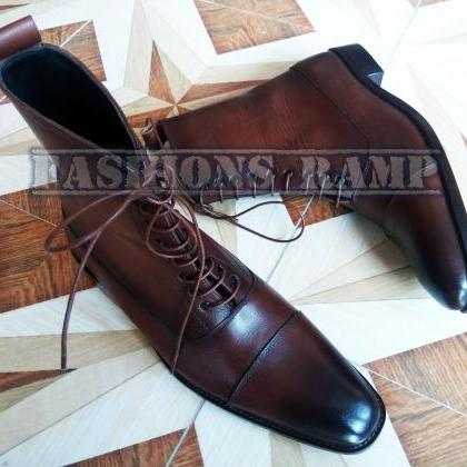 Handmade Ankle High Cap Toe Leather..