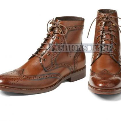 Handmade Oxford Wing Tip Leather Sh..