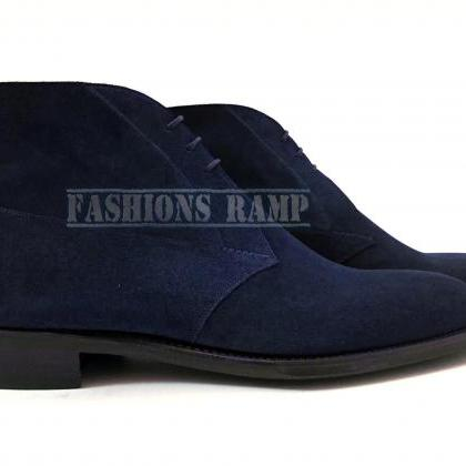 Handmade Men's Navy Blue Suede Chuk..