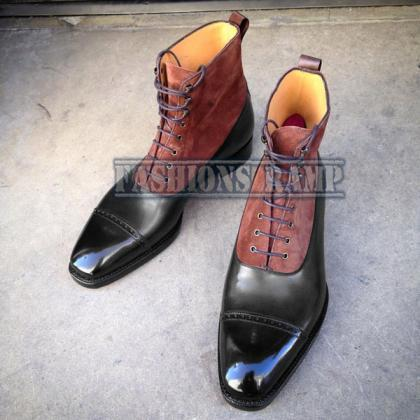 Handmade Ankle High Two Tone Boots,..
