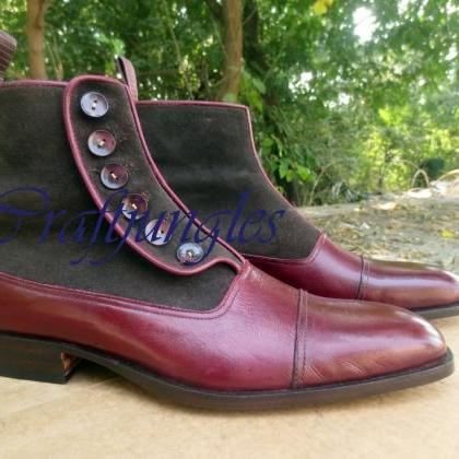 Handmade Ankle Button Top Boots, Tu..