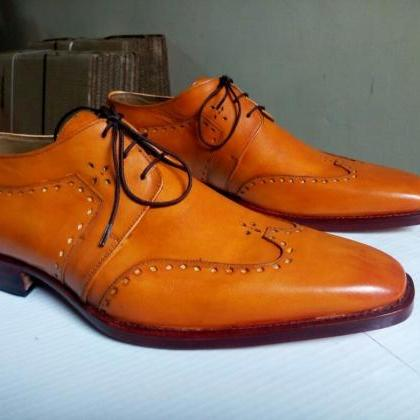 Handmade Luxury Men's Tan Oxford Le..