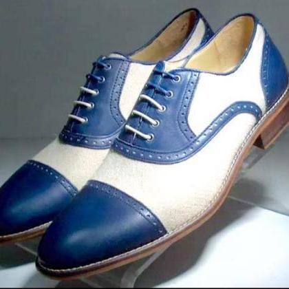 New Handmade Men Oxford Two Tone Ca..