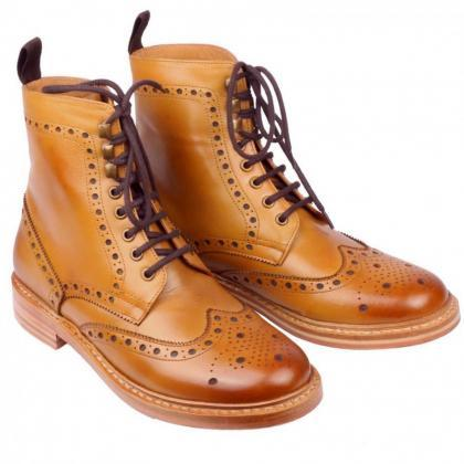New Handmade Men Ankle High Lace Up..