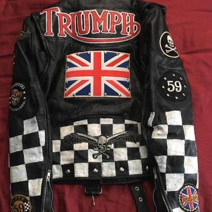 Handmade Mens Leather Triumph Patch..