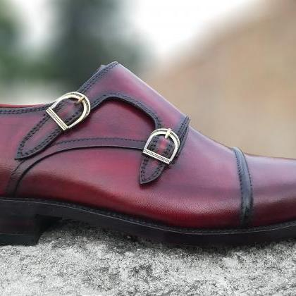 Handmade Double Monk Burgundy Shoes..