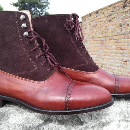 Handmade 2 Tone Brown Leather Suede..
