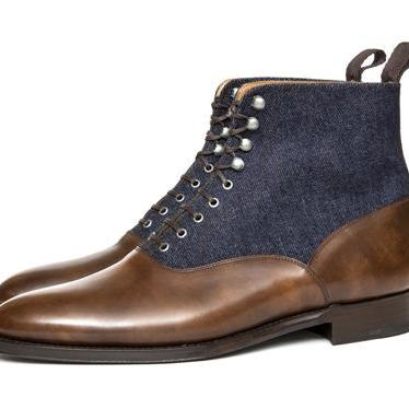 Handmade Brown Blue Men Ankle High ..