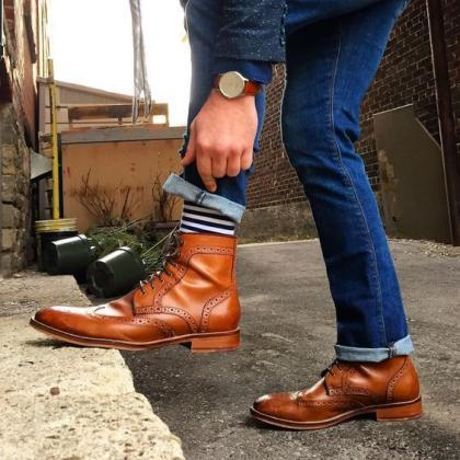 Handmade Wing Tip Brogue Boot, Men'..
