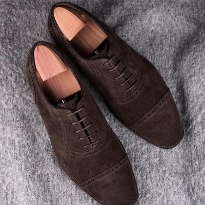 Handmade Dark Brown Color Suede Sho..