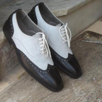 Handmade White Black Leather Suede ..