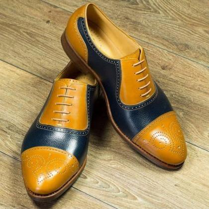 Handmade Cap Toe Lace Up Type Tan N..