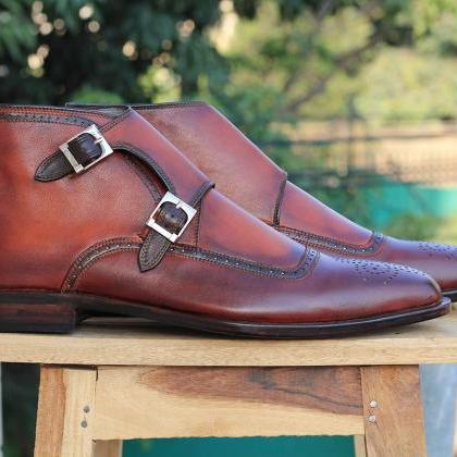 Men's Ankle High Two Tone Brown Tan..