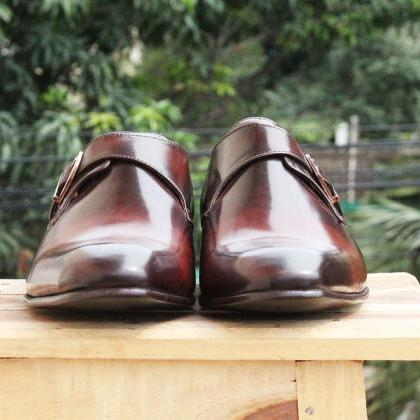 Men's Two Tone Brown Tan Monk Strap..