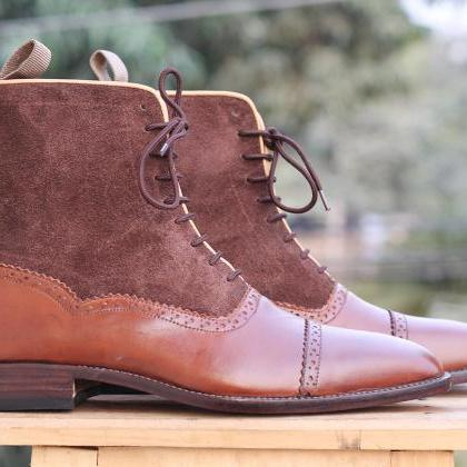 Handmade Men's Ankle High Brown Boo..