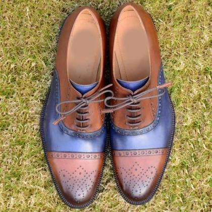 Men's Handmade Brown Blue Cap Toe Brogue Lace Up Leather Shoes