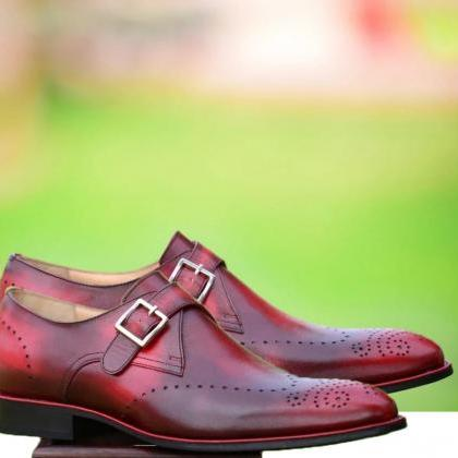 Men's Handmade Burgundy Brogue Monk Strap Leather Shoes