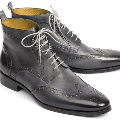 Handmade Gray Wing tip Brogue Ankle..