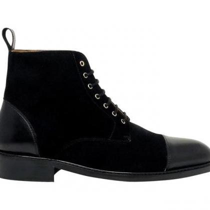 Handmade Black Cap Toe Ankle Boots Men's Leather Suede Boots
