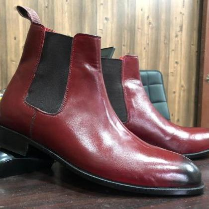 Handmade 2 Tone Burgundy Leather Ch..