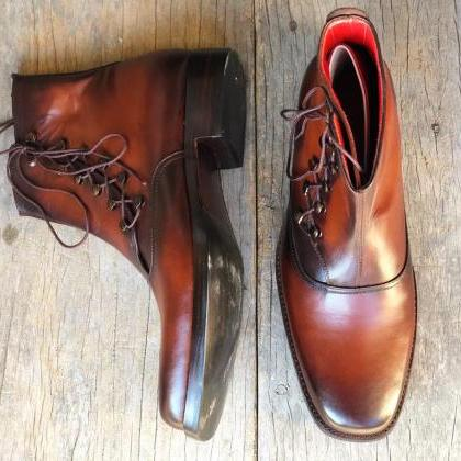 Men's Handmade Tone Brown Ankle Boo..
