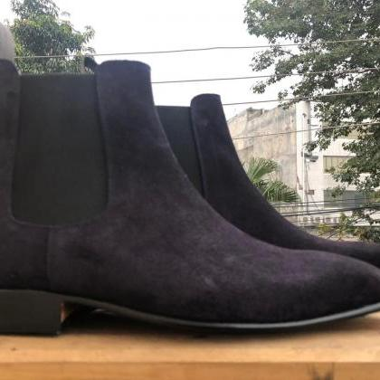 Handmade Ankle High Navy Blue Boots..