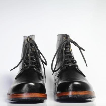 Handmade Ankle High Black Chukka Le..