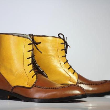 Handmade Ankle High Brown & Yellow ..