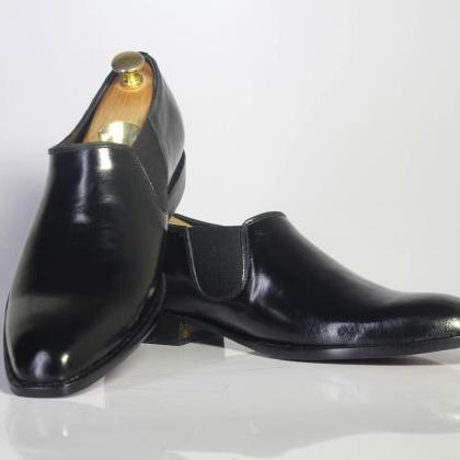 Handmade Black Half Chelsea Leather..
