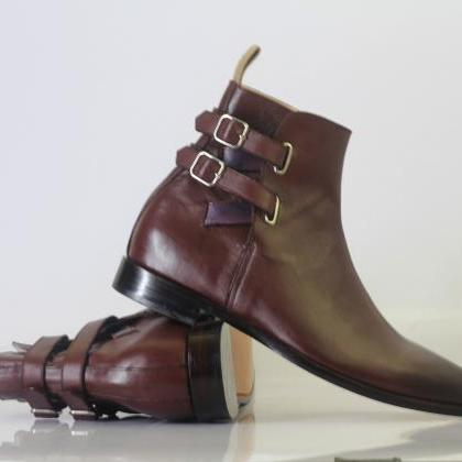 Handmade Men's Ankle High Burgundy ..
