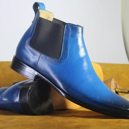 Handmade Half Ankle Blue Boots,Chel..