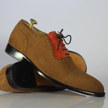 Handmade Tan Brown Alligator Leathe..