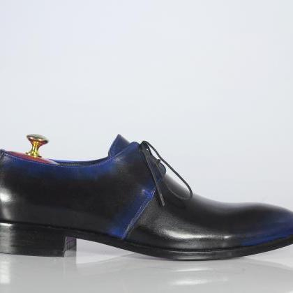 Handmade Black Blue Leather Shoes, ..