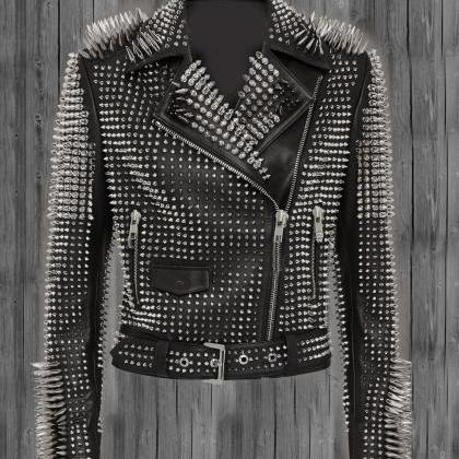 Black Studded Leather jacket for wo..