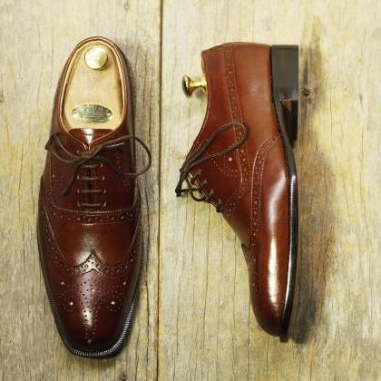 Handmade Brown Leather Shoes, Men's..