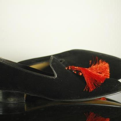 Handmade New Black Velvet Shoes, Me..