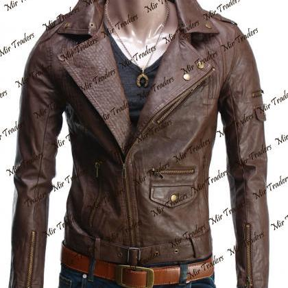 Hand Made Brown Men's Slim- Fit Lea..