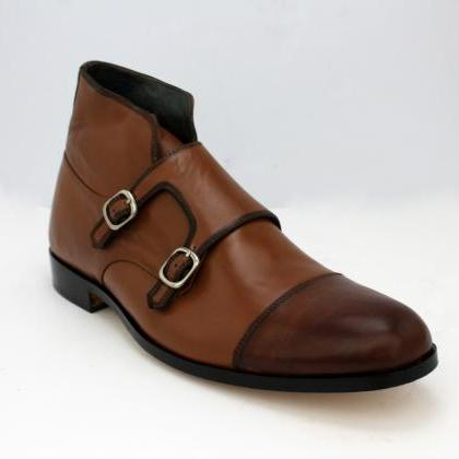 HANDMADE MEN'S LEATHER DOUBLE MONK ..
