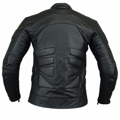 New Men's Leather Jacket Black Slim..
