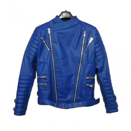 BALMAIN LEATHER RIBBED BIKER JACKET..