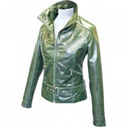 Women's Leather Jacket Belted Green..