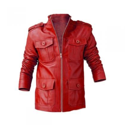RED BUTTON DETAIL LEATHER JACKET -..