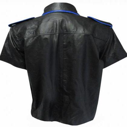 Men Black Leather Shirt, Men Flap P..