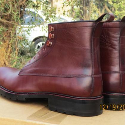 HANDMADE MEN MAROON DESERT LEATHER ..