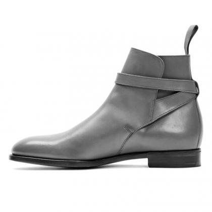 Handmade Gray Jodhpurs Ankle High S..